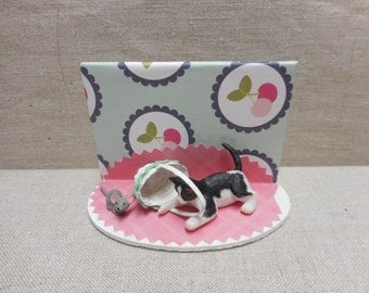 Miniature scene - cat and mouse with basket