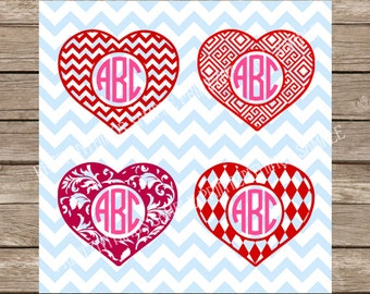 Valentine's Day Hearts svg Monogram svg Heart svg Love svg Valentines svg Valentines Day svg dxf Hearts svg Silhouette Cameo Cricut cut file