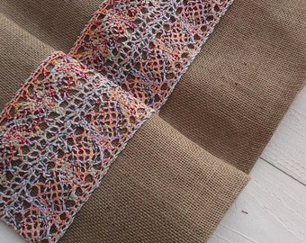 Boho Burlap Runner - Burlap Runner with Boho Lace - Rustic Runner - Table Runner - Wedding Runner - Home Decor - Table Decor