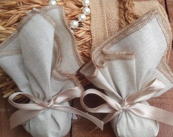 Favor Bag - Cotton Linen Favour Bag - Cream Favor Bag - Wedding Favor - Country Wedding Favors - Western Wedding Favor Bag - Set of 30