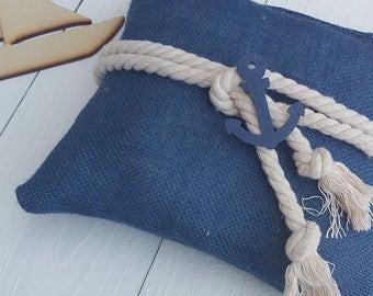 Nautical Ring Pillow - Indigo Burlap Ring Pillow - Ring Bearer Pillow - Wedding Pillow - Beach Wedding Ring Pillow - Wedding Decor