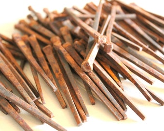 """Lot of 45 Antique 3 1/4"""" Flooring Square Nails Machine Made Rusty"""