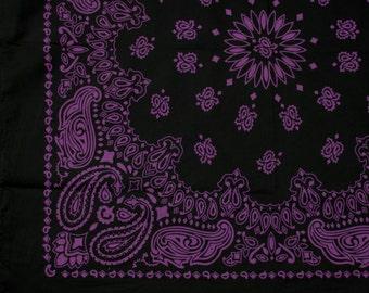 "Bandana - Black and Purple Cotton 22"" Square Cowboy Style Paisley Bandana"