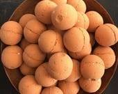 Mini Karma Sutra Bath Bomb. Patchouli. Clove. Blood Orange. Essential OilsMade in Utah. French Red Clay.