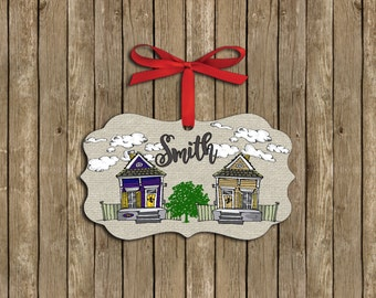 Personalized New Orleans Geaux Houses Ornament