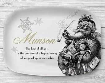 Personalized Christmas Platter, Melamine Santa Serving Platter, Melamine Platter, Personalized Monogram Serving Tray