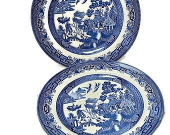 Churchill China Blue Willow Dinner Plates - Pair Vintage Blue Plates Made in England, Ceramics and Pottery Tableware, Blue and White China