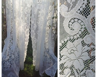 vintage lace curtain etsy