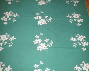 Vintage Wilendur Green Dogwood Floral Tablecloth
