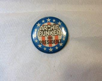 Vintage Political Button ARCHIE BUNKER for PRESIDENT.