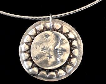 Fine Silver Moon & Stars Necklace | Precious Metal Clay