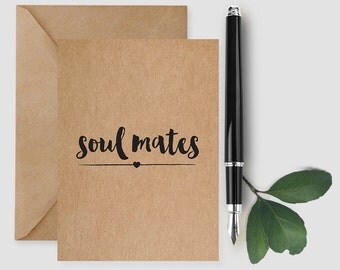 Soul Mates Card, Valentine's Day Card, Valentine Card Him, Valentine Card Her, Love Card, Wedding Card, Anniversary card