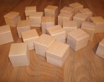 "40 unfinished 2"" wood  blocks, wood baby  blocks 2"" square, craft blocks, baby shower activity blocks"
