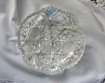 Brilliant Cut Glass Candy Dish Or Nappy Crystal Starburst Pattern With Sawtooth Edges