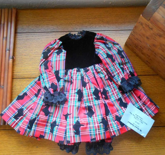 Doll Dress Red Plaid Taffeta With Black Scottie Dogs and Velvet Bodice And Pantaloons Christmas Party