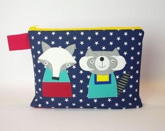 """Diaper bag/cosmetic bag """"Raccoon and Fox"""""""