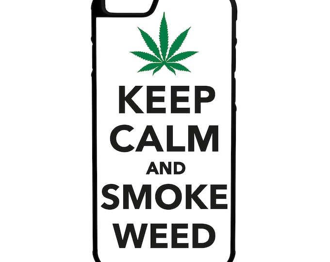 Keep Calm Smoke Weed iPhone Galaxy Note LG HTC Hybrid Rubber Protective Case
