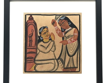Kalighat Painting on Handmade Paper-2 (Framed)