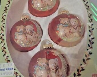Christmas Ornament Christmas By Krebs Silk Glass Ornament 4 With Teddy Bears - Free Shipping