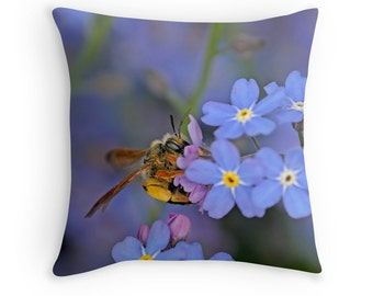 Bee Pillow, Bee Decor, Bee Cushion, Nature Decor, Forget Me Not, Bumble Bee, Insect Decor, Blue Throw Pillow, Insect Cushion, Insect Pillow
