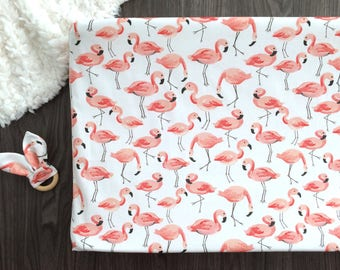 Coral pink orange apricot flamingo changing pad cover
