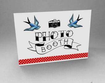Rockabilly Photo Booth Sign Wedding Tattoo Swallows Polka Dot Decoration