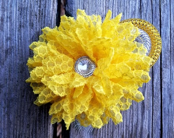 Girls Accessories, Yellow Flower Headband. Flower Hairclip. Flower Girl, Baby Headband, Hair Accessories, Photo Prop, Girls Hairclip, Easter