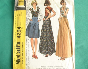 Vintage McCall's pattern 4294, 1970s T-shirt and skirt pattern, uncut, size 12 bust 34