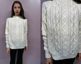 80s Ivory Fisherman Knit Sweater//Vintage chunky cable knit sweater 70s