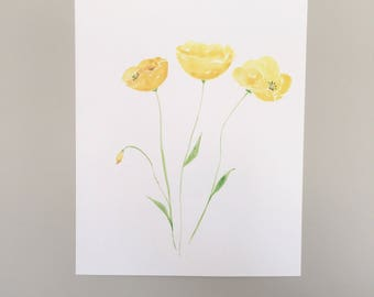 Watercolor Yellow Poppies