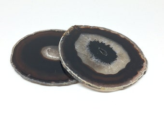 Agate Coasters // black agate coasters, agate slices, geode coasters, stone coasters, crystal coasters, gold rimmed agate, gift under 50