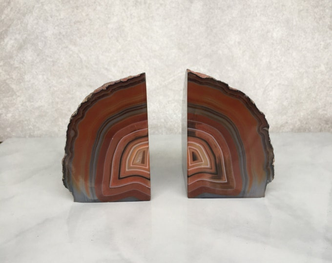 Agate Bookends // brown agate bookends, amber stone bookends, geode bookends, crystal bookends, gifts under 100, bohemian decor, midcentury