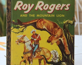 Vintage Little Golden Book Roy Rogers and The Mountain Lion 1956