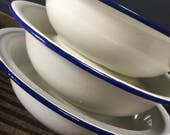 Beautiful French Vintage White Enamel Bowl with Dark Blue Rim, 3 sizes Available