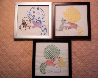 Three Embroideries of Baby Sun Bonnet Sue - Framed