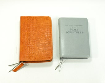 Standard / Deluxe Size Bible Cover NWT for Jehovah's Witness - Orange Leather New World Translation