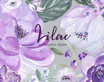 Soft lilac palette Digital clip art. Wedding invitations. Peonies & magnolia