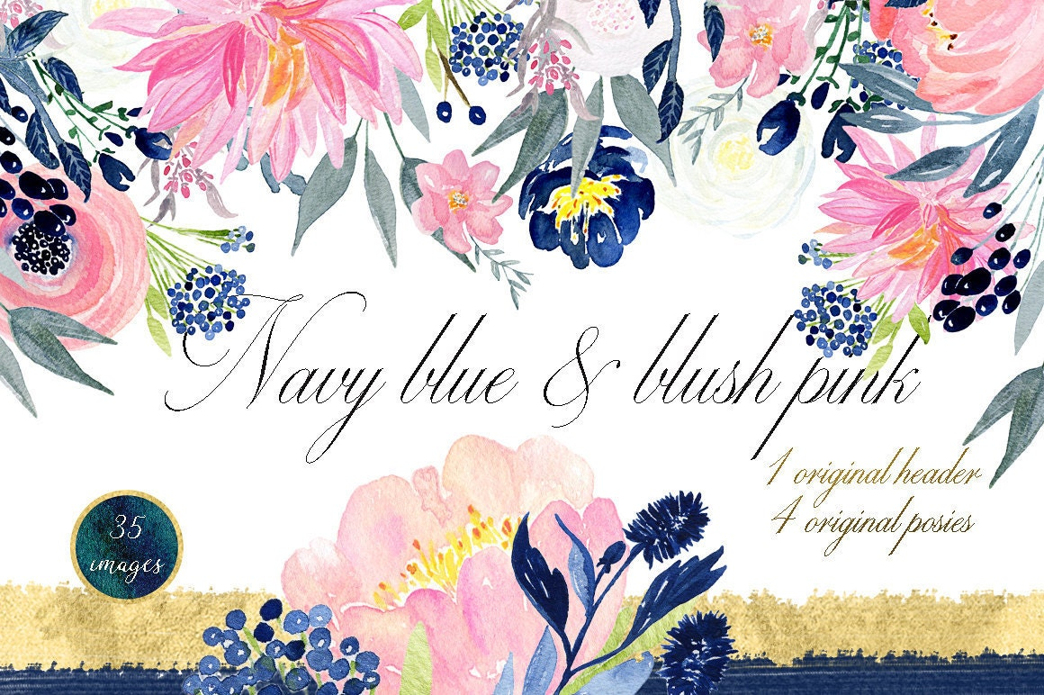 Navy blue & blush pink flowers. Watercolor clipart. Blog