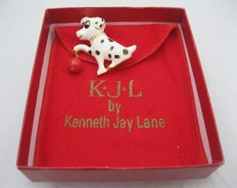 Kenneth Jay Lane KJL Dalmation Dog Brooch