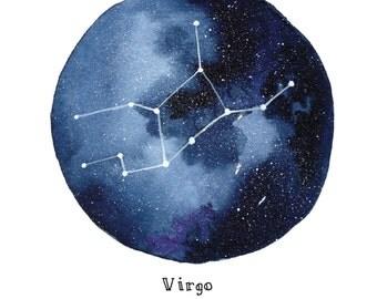VIRGO Constellation Zodiac Greeting Card Birthday Card Astronomy Stars