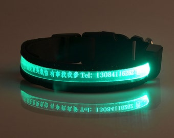 Personalized custom Dog Collar With LED luminous engrave Name Pet ID gifts