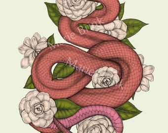 Snake and Flowers Print