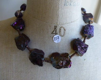 Necklace of metallic purple quartz beads