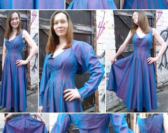 Vibrant 1940s/50s Two Tone Blue and Purple Taffeta Evening Gown with Matching Bolero!