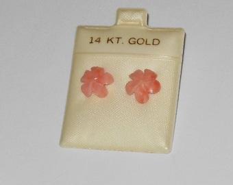 Vintage Carved Pink Coral Floral Earrings 14 k gold Posts Pierced