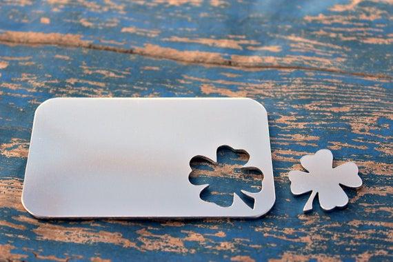 Aluminum Wallet Card 2 1 16 Quot X 3 3 8 Quot With 4 Leaf Clover
