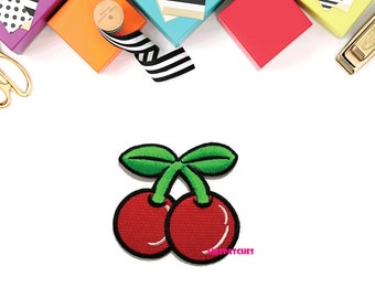 Couple Red Cherry Cute Patch - Fruit New Sew / Iron On Patch Embroidered Applique Size 7cm.x6.8cm.