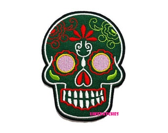 Green Sugar Skull Ghost Halloween Patch New Sew / Iron On Patch Embroidered Applique Size 6.8cm.x9.1cm.