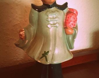 Vintage 50s shabby chic Mid Century Asian Chinese Boy plaster figurine