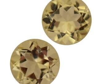 Green Gold Quartz Loose Gemstones Set of 2 Round Cut 1A Quality 8mm TGW 3.40 cts.